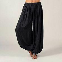 купить Hot Women Ali Baba Pants Aladdin Solid Elastic Afghan Genie Hippy Loose Dance Fashion Lady Cotton Casual Trousers Plus Size 3XL по цене 239.68 рублей