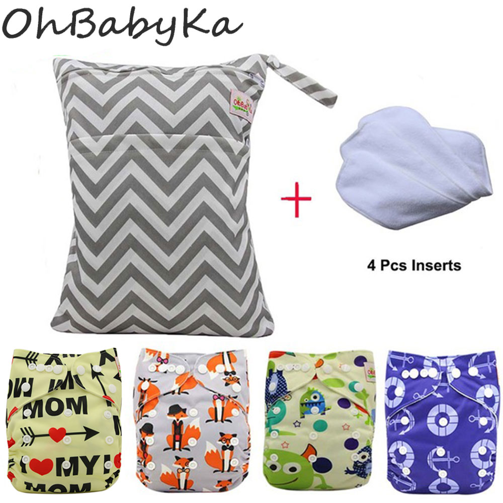 OhBabyKa Onesize Reusable Washable Baby Cloth Diaper with Designer Printed Adjustable Suede Cloth Diaper Pocket Nappy+Insert