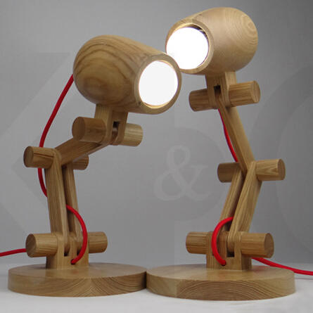 Wooden Color Loft Style Solid Wood Adjustable Table Lamp Creative Reading Bedroom Study LED Table Light Free Shipping loft solid wood art table light bedroom reading lamp for cafe bar hotel