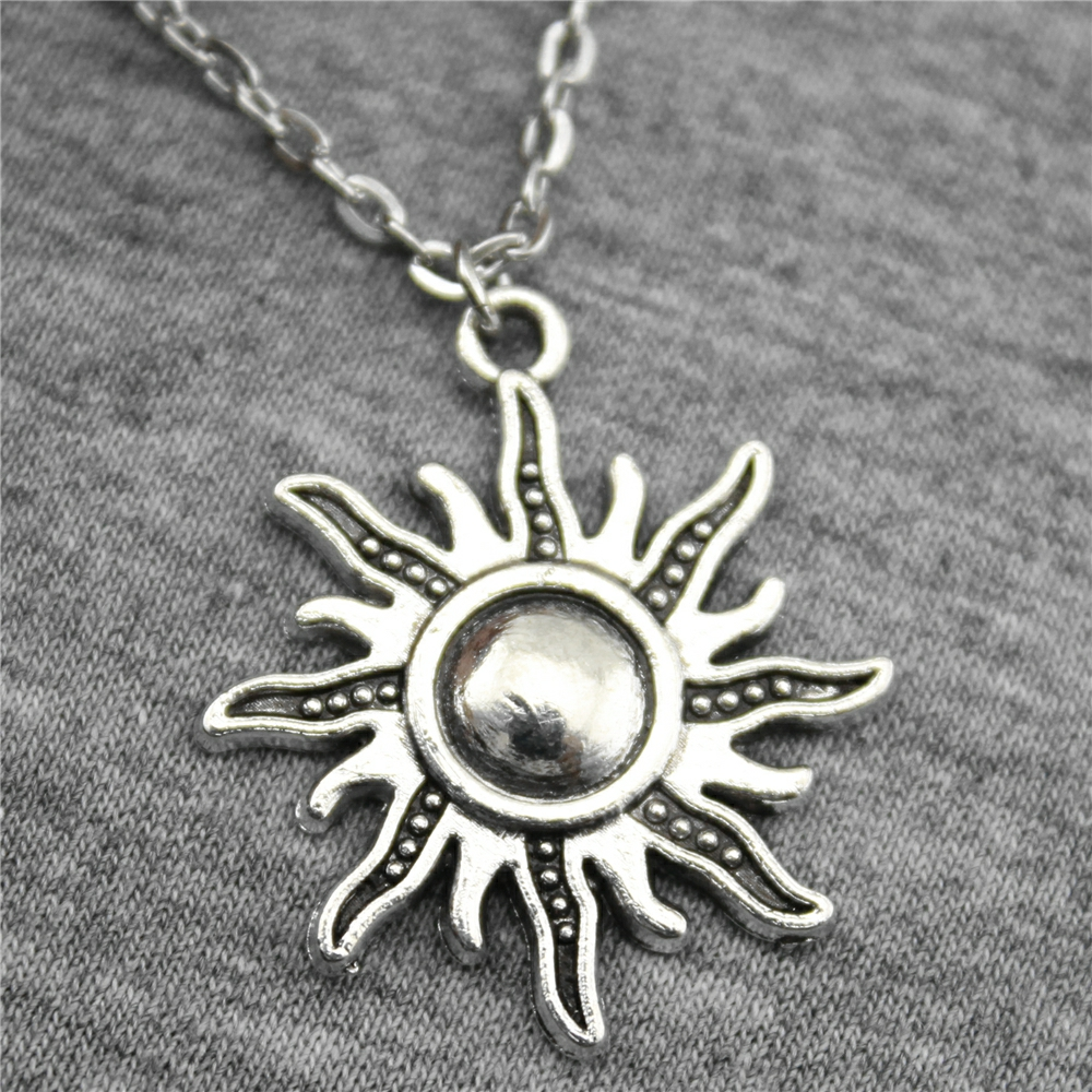 Оптовая продажа 30 шт. 2 цвета 28 25 мм кулон солнце металлической цепью  Цепочки и ожерелья, мода Цепочки и ожерелья ювелирные изделия подарок д. 3cc4e3dc497