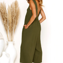 c1139fcb4da Summer Full Length Bohemian Loose Women Bodysuit One Pieces Backless Large  Size Monos Largos Mujer Pantalon
