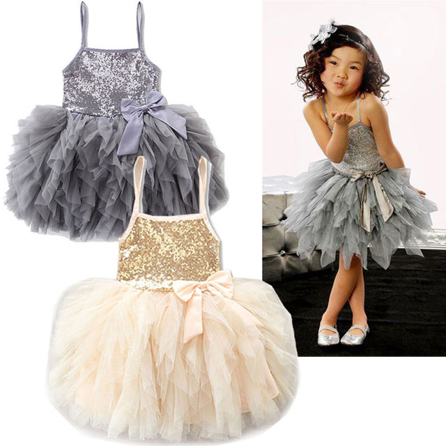cc1303e53655e3 Shiny Gold/Gray Kids Girls Lace Tulle Bowknot Tutu Wedding Pageant Princess  Party Dresses
