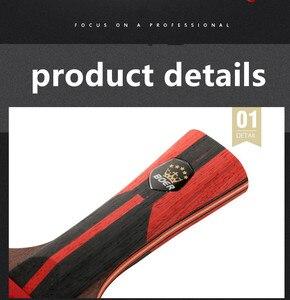 Image 5 - למעלה פחמן באיכות שחור להב S6 שולחן טניס מחבט מקצועי עם גומי פינג פונג משוט טניס שולחן מחבט