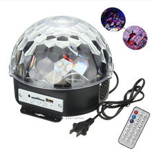 18W Bluetooth MP3 Crystal Magic Rotating Ball Remote control 6 colors RGB disco balls lights voice LED magic ball for Parties(China)