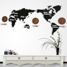 2 STYLE Creative 3D Wooden Wall Clock World Map Large Size Wall Sticker Clock Modern  European Style Round Mute Clock