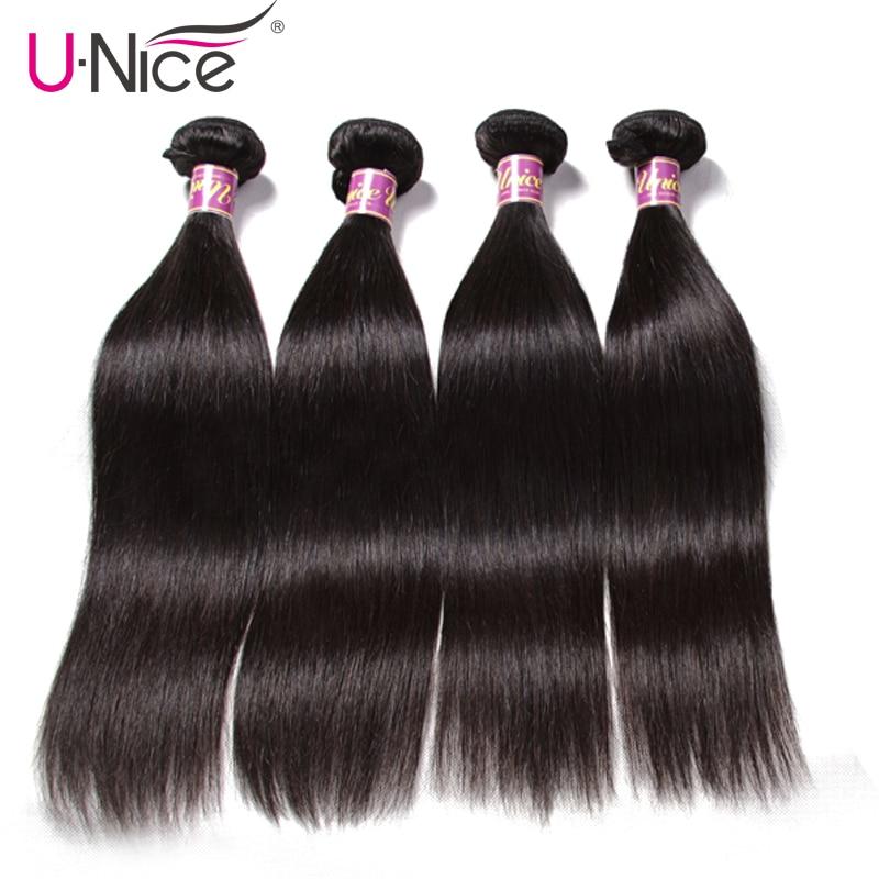 Unice Hair Malaysian Straight Hair Bundles 4 PCS 100 Human Hair Extension 8 30 Natural Color