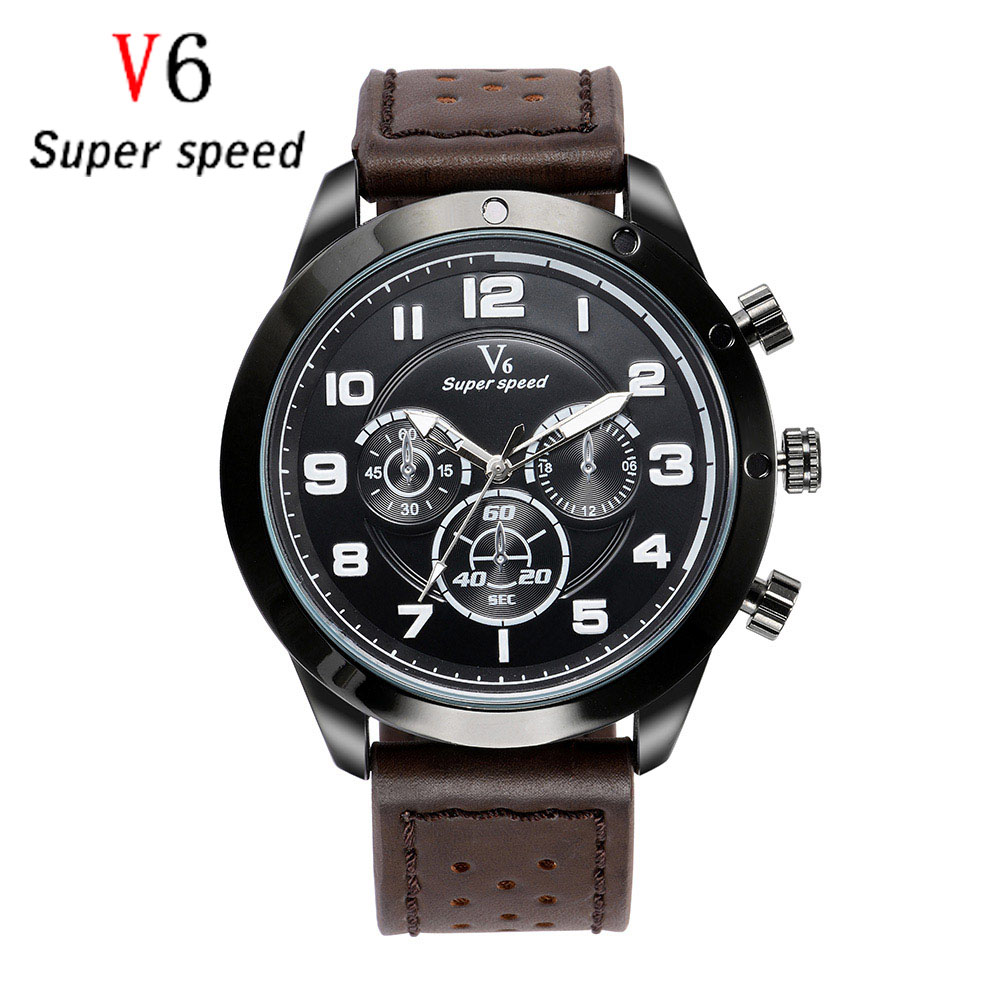 Fashion High Quality Black Brown Leather Band Steel Shell Men  Quartz Watch sports military Wristwatches vintage Male Clock suunto core brushed steel brown leather