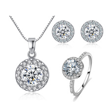 hot deal buy hot sale silver color fashion jewelry sets cubic zircon statement necklace & earrings rings wedding jewelry for women gift