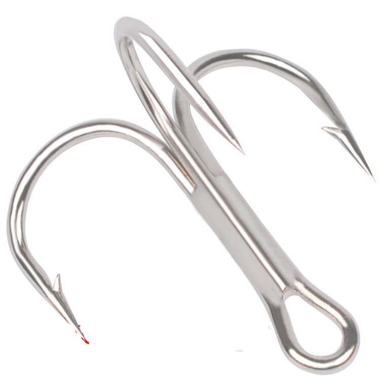 100pcs High Carbon Steel Fishing Barbed Hook Sharpened Treble Hooks 3/0, 2/0, 1/0,2/4/6/8/10 Silver Saltwater Freshwater