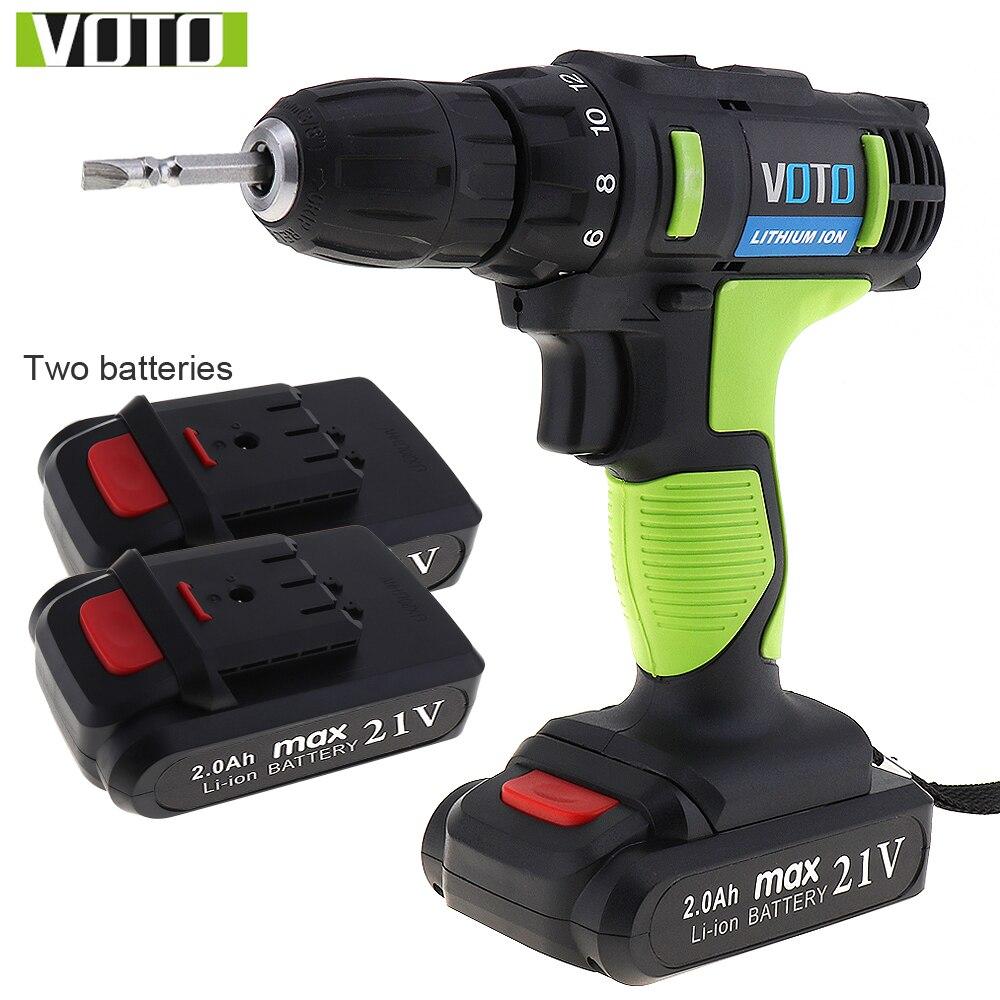 VOTO AC 100-240 V inalámbrico 21 V destornillador eléctrico con 2 baterías de litio y ajuste de dos velocidades herramientas botón set