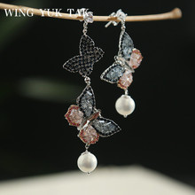 wing yuk tak Vintage Luxury Zircon Butterfly Drop Earrings For Women Party Wedding