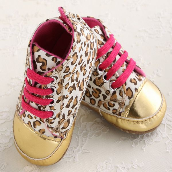 Cute Baby Girl Shoes Soft Gold Sole Crib Striped Shoes Baby Infant Toddler Leopard First Walker Sport Sneakers bebe Sapatos