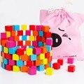Material de montessori colorido cubo blocos de madeira 100 pcs blocos quadrados de madeira do bebê para fazer projetos de artesanato e diy