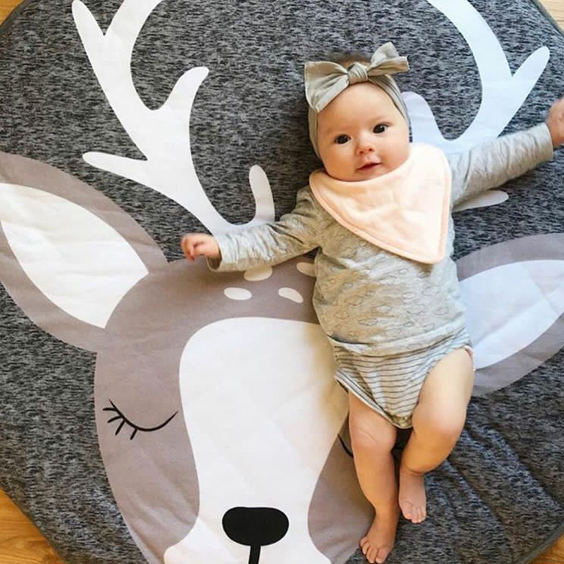 Christmas Elk Cartoon Creeping Mat Baby Infant Playmat Blanket Play Game Mat Room Decoration Round Thick Crawling Activity Pad