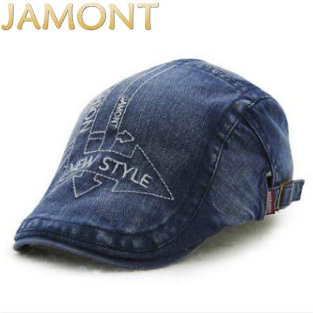 Jamont Inglaterra estilo otoño verano Denim Beret sombreros Plain duckbill  sombrero Jean Cap gorra plana vendimia 0f6b99a8e40