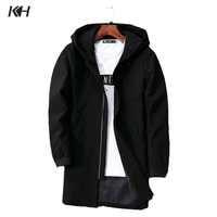 KH 新到着男性のファッション春秋のフード付きジャケットコートメンズカジュアル男性ウインドブレーカー上着の男のコート Jaqueta プラスサイズ 5XL
