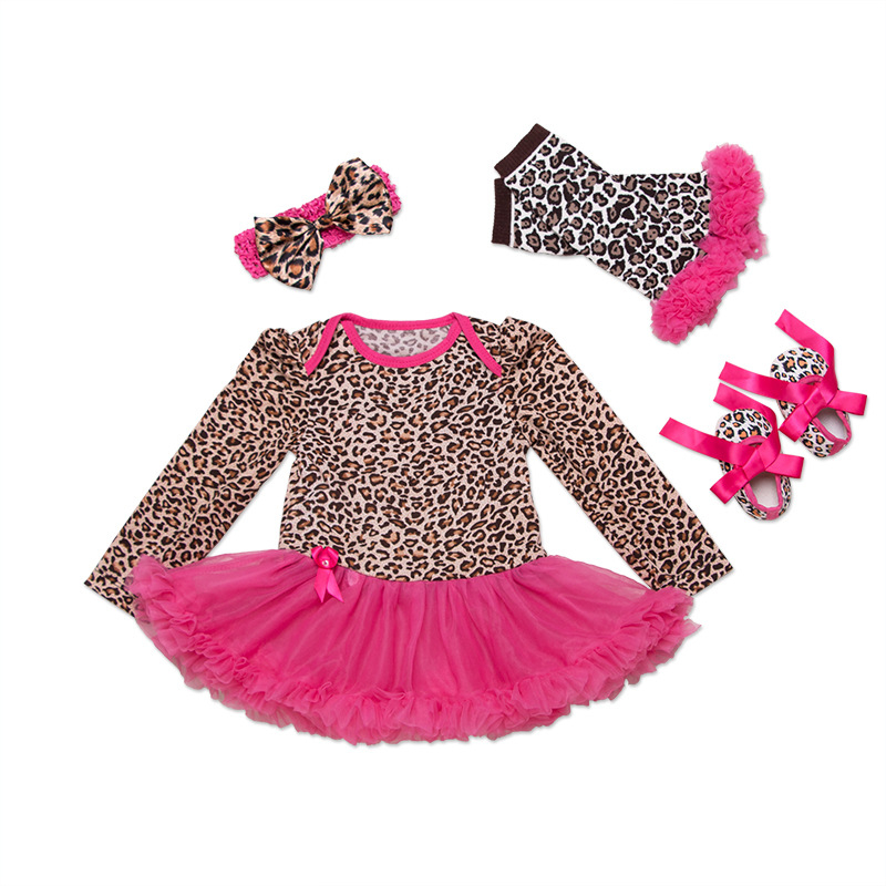 купить Newborn Girl Clothing Sets Baby Outfit Set Leopard Zebra Dot Polka Lace Tutu Romper+Headband+Shoes+Leggings Toddler Girl Clothes по цене 453.28 рублей