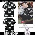 Señor Ripndip Nermal Camisetas Hombres Mujeres 1:1 Algodón Hip Hop Marca de Ropa de Moda Del O-cuello de La Gota Medio Dedo Gato Ripndip Camisetas