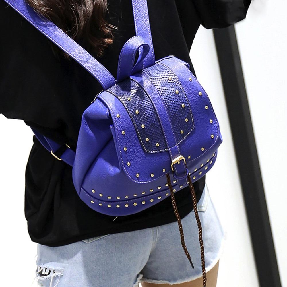 Fashion Women Vintage Backpack Rivet Decoration Rucksack Drawstring School Bag Popular JUNE2