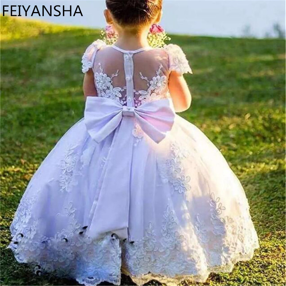 Customized   Flower     Girl     Dress   For Wedding with Big Bow Sash With Pearl Prepared For Princess to Attend Various Parties Sheer Back