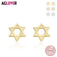 Authentic 925 Sterling Silver Womens Jewelry Fashion Tiny 8mmX8mm Hollow Star Stud Earring Gift For Girls Kid Lady Madam