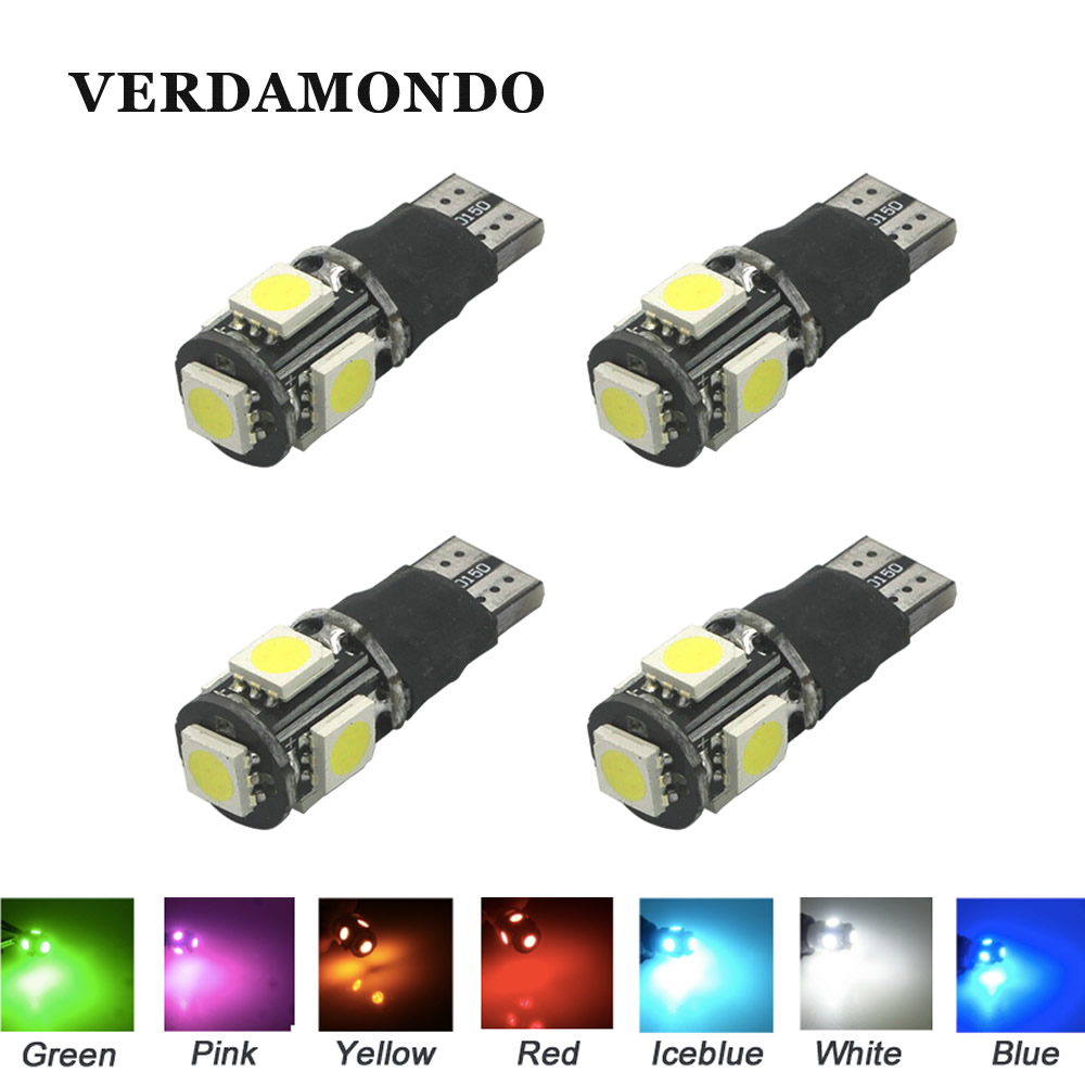 4X T10 W5W 5SMD 5050 Leds Fast Flashing Strobe / Always on 2 Model Car Side Marker Rear Light Lamp Bulbs 12V 7 Colors