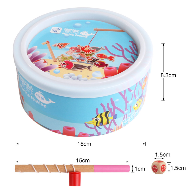 Baby Chinese Educational Wooden Children Toy Fishing Set Marine Biological Congnition Magnetic Toy Set Game Kids Gift 20 Pcs/set