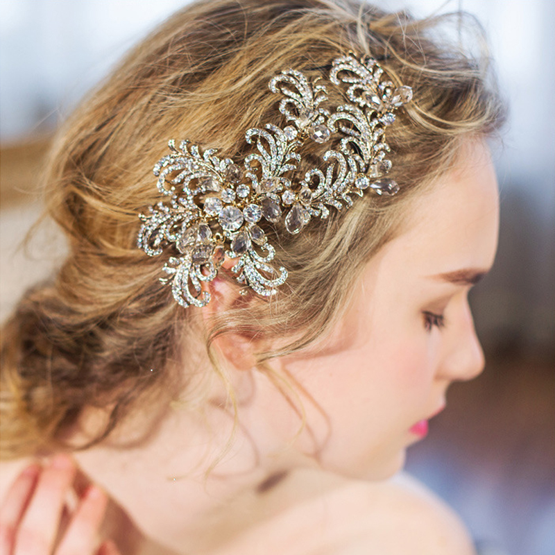 Wedding Hairstyles With Hair Jewelry: Bridal Headpiece Luxury Rose Gold Romantic Wedding Hair
