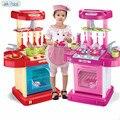 Новое Прибытие Супер высокая Моделирования кухня чемодан Рано Обучающие Детские toys Kitchenware tool Кухонный стол Кастрюли