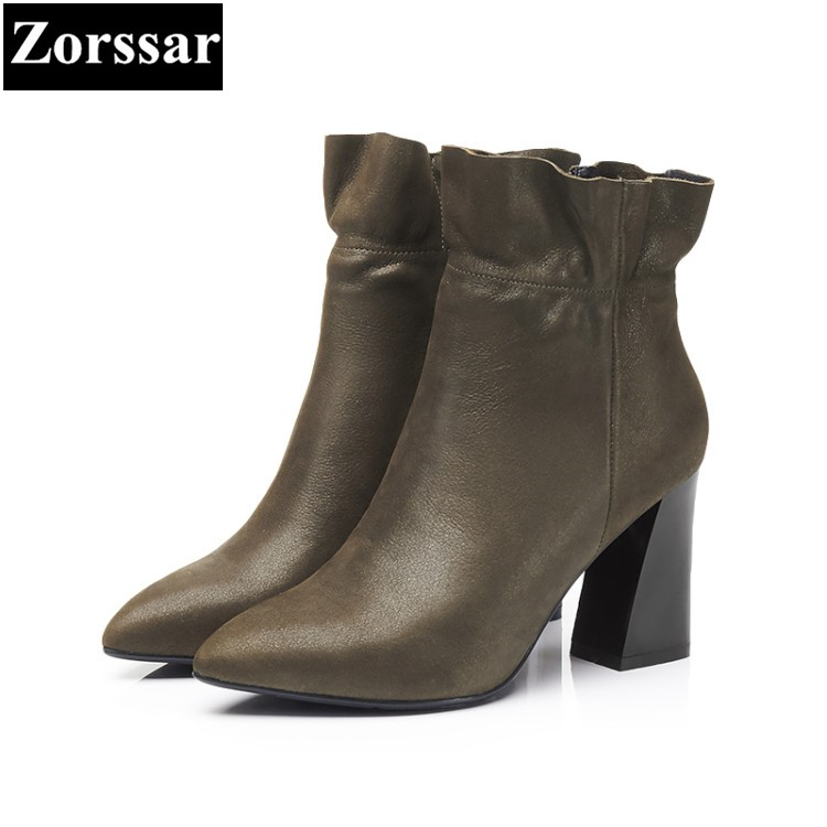 {Zorssar} 2018 Large size Women Boots Thick heel pointed Toe High heels ankle Riding boots fashion leather womens shoes winter new 2017 spring summer women shoes pointed toe high quality brand fashion womens flats ladies plus size 41 sweet flock t179