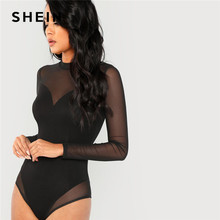 SHEIN Black Office Lady Elegant Mock Neck Mesh Panel Long Sleeve Skinny Solid Bodysuit 2018 Autumn Sexy Casual Women Bodysuits(China)
