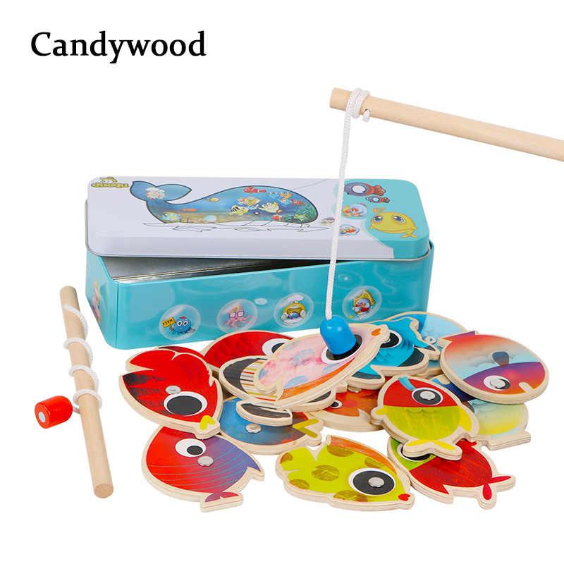 c4eb773dd8f4 14 рыб + 2 удочки деревянные детские игрушки рыбы магнитные Pesca играть  рыбалка игра жестяная коробка