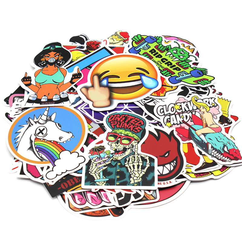 Image 2 - 200 PCS Random Vinyl Skateboard Travel Case Helmet Sticker Decal ATV Motorcycle Car Stickers Fashion Rossi Funny Sticker Bomb-in Decals & Stickers from Automobiles & Motorcycles