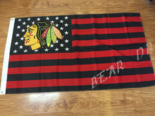 Chicago Blackhawks logo 3×5 USA Stars and Stripes flag polyester 100D banner NHL Free shipping
