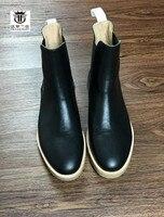 FR. ланселот 2018 Лидер продаж сапоги из натуральной кожи черные кожаные ботинки без шнуровки короткие плоский каблук резиновая подошва парти