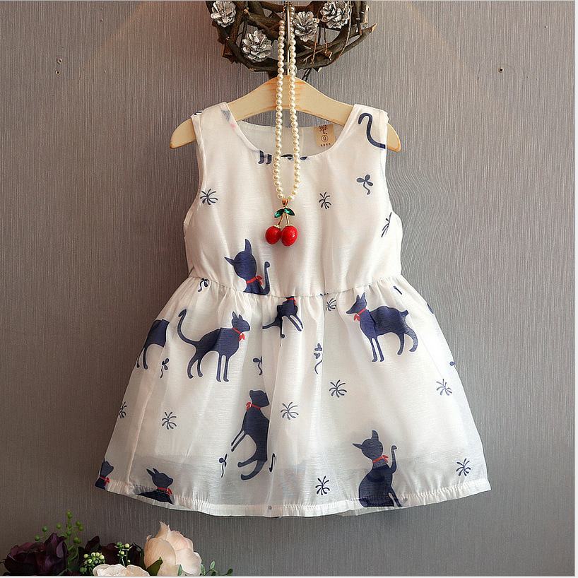 2018 summer new fashion elegant cat pattern girl dressed sleeveless vest children's clothing Casual outfit 24M 3T 4T 5T 6T цены онлайн