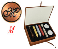 Vintage 1 Letter M Retro Alphabet Initial Wax Seal Stamp Kit Set Wedding Label