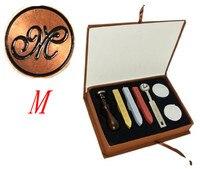 Vintage 1 Letter M Retro Alphabet Initial Wax Seal Stamp Kit Set Wedding Label