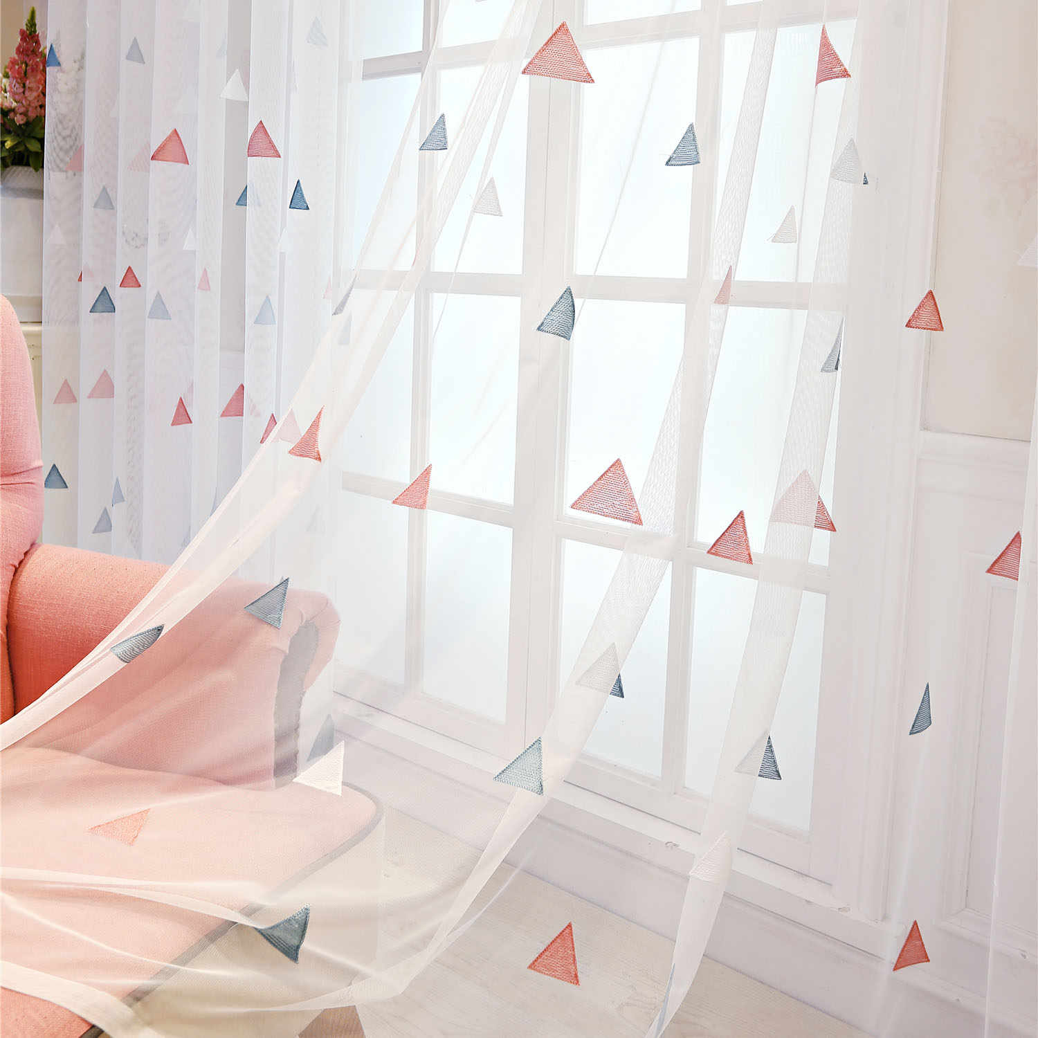 Slow Soul Pink Blue Yellow White Triangle Modern Geometric Curtains Tulle For Living Room Bedroom  Kids Children Embroidered