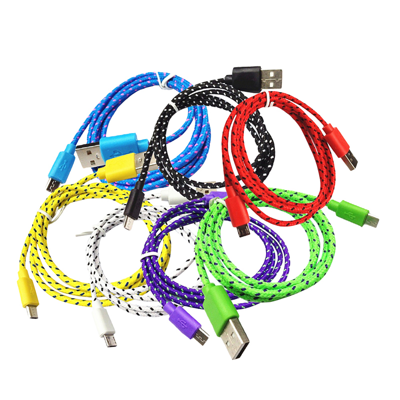 Nylon Braided Fabric Micro USB Cable Charger 1m 2m 3m Data Sync USB Cable Cord for Samsung Galaxy HTC LG Android Smart Phone
