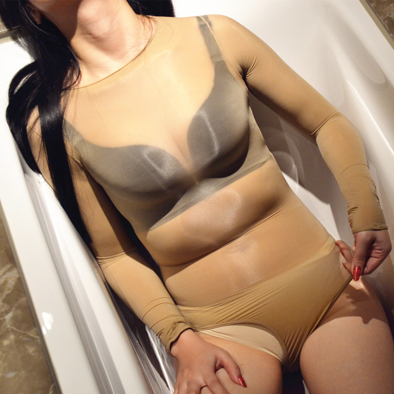 Women Oily Sheer Skin Tight Ultra Glossy Leotard Teddies Lingerie High Cut Long Sleeve Body Shaping Unitard See Through Bodysuit