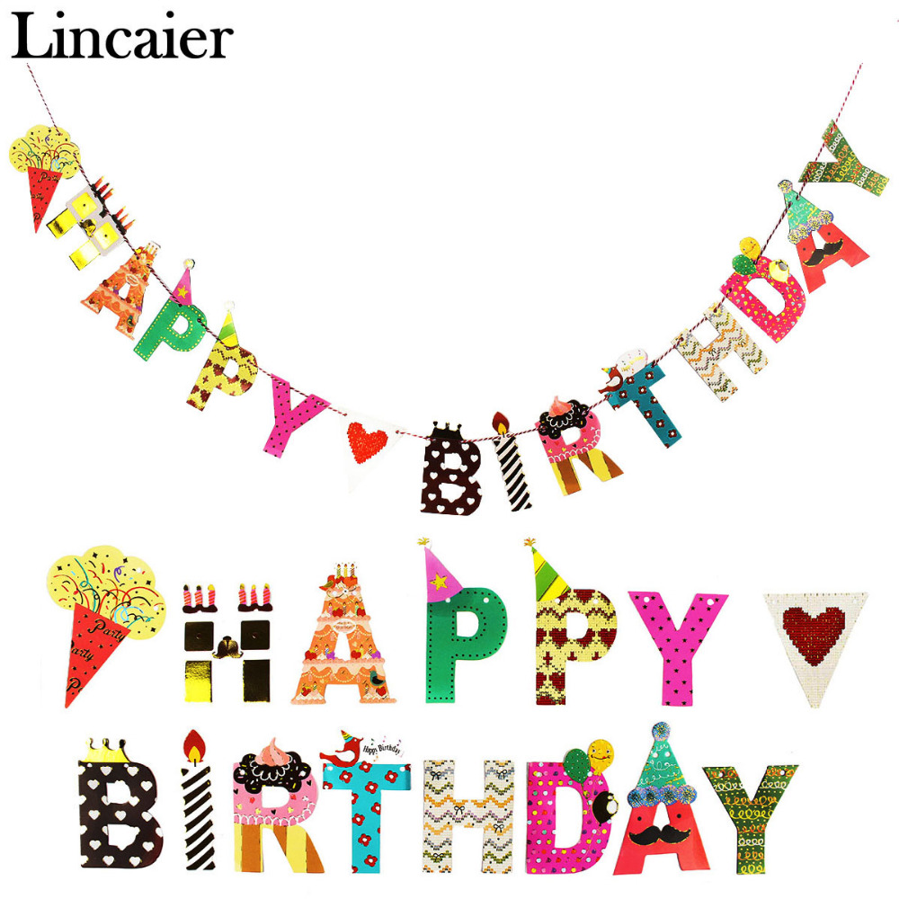 Lincaier 2 Meters Cartoon Happy Birthday Paper Banner