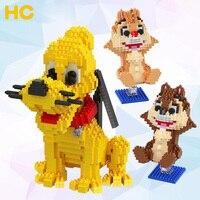 HC Magic Diamond Building Blocks Bricks Cartoon chipmuck Yellow dog Anmie DIY Blocks Educational Toys for Boys Girls Children