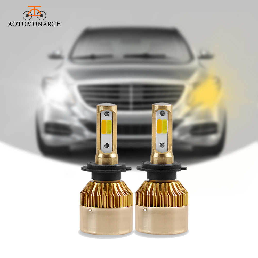 AOTOMONARCH Car Headlight  H11 LED Dual Colors H4 H1 H7 H8 H9 HB2 9005 HB3 Car Lights Bulbs 3000K 6000K COB 8000LM 12V CE