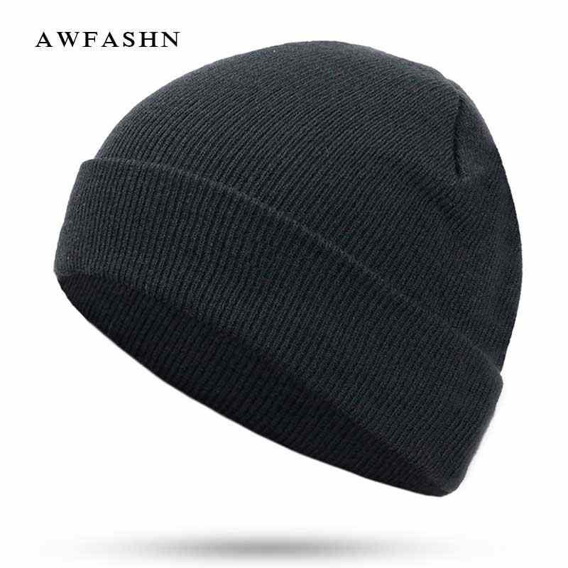 3bef7b5a16680 2018 New Fashion Solid Color Knit Beanies Hat Winter Hats Warm Man Woman  Multiple Colour Skullies Ski Soft Cap Beanie Bone Sport
