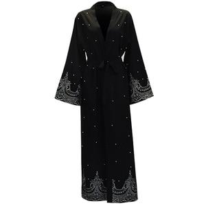 Image 4 - Ramadan Abayas For Women Muslim Hijab Dress Caftan Kimono Cardigan Abaya Kaftan Dubai Qatar UAE Oman Robe Femme Islamic Clothing