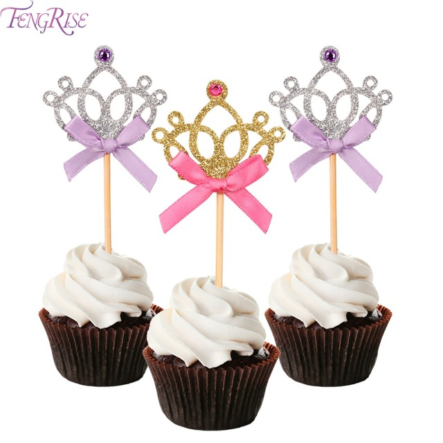 Fengrise 10 Pieces Crown Cake Toppers 1st Birthday Decoration Kids