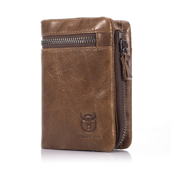 Zip Coin Pocket Leather Wallet