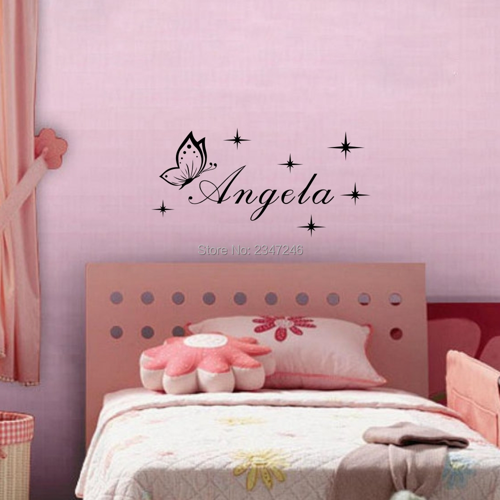 Us 4 34 13 Off S Name With Stars Wall Decor Decals Erfly Nursery Art Stickers In From Home Garden On Aliexpress