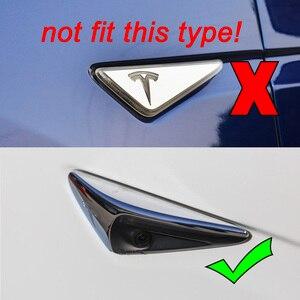 Image 3 - Seite Kamera Kotflügel Marker Schutz Deckt für Tesla modell 3 S X 2013 2019 Real Carbon Fiber Dekorative Zubehör